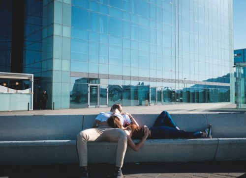 A couple taking a nap